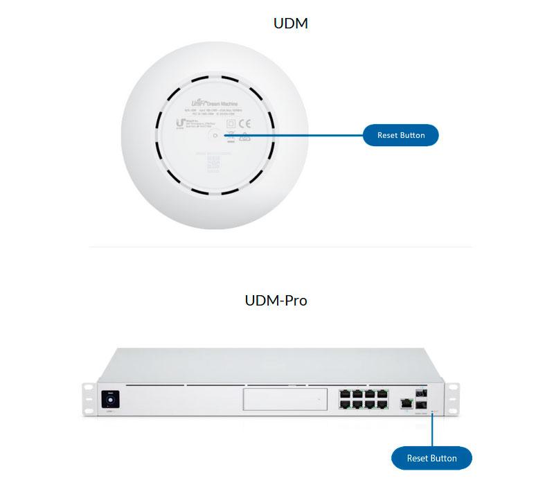 Где находится кнопка Reset у устройств UDM